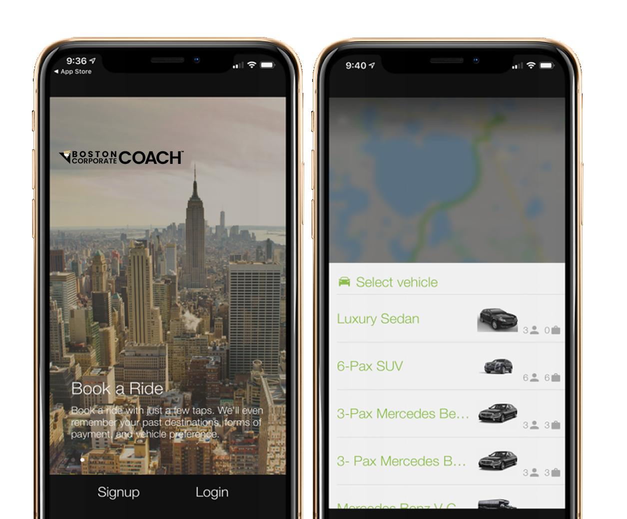 boston corporate coach phone app desktop